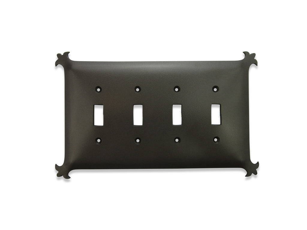 Classic Spanish Revival Iron Switch Plate 4 Gang Toggle Quad SEPH241 - Bushere & Son Iron Studio Inc.