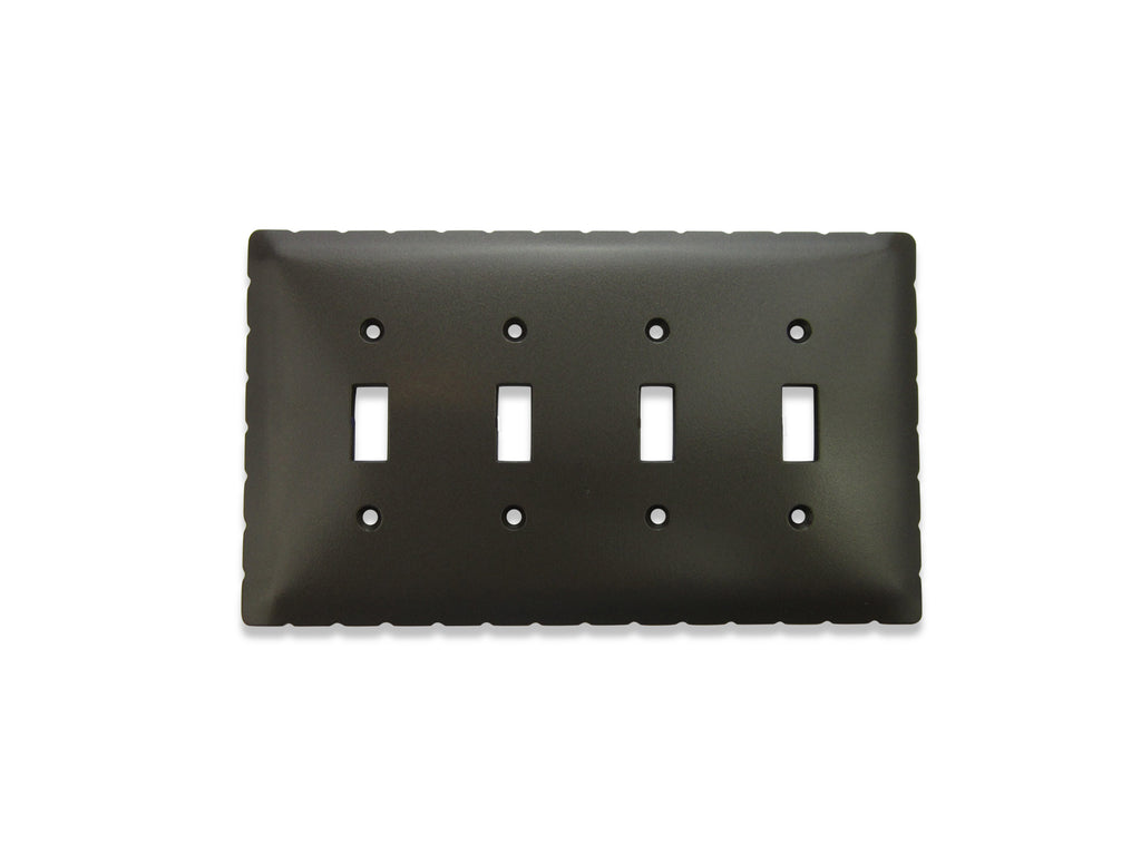 Classic Rancho Iron Switch Plate 4 Gang Quad Toggle SEPH441 - Bushere & Son Iron Studio Inc.