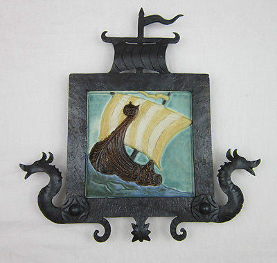 California Tile Spanish Galleon Mural In Forged Wrought Iron Frame