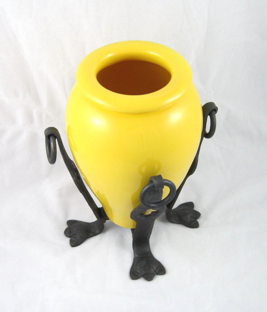 bauer yellow oil jar w/ wrought iron stand