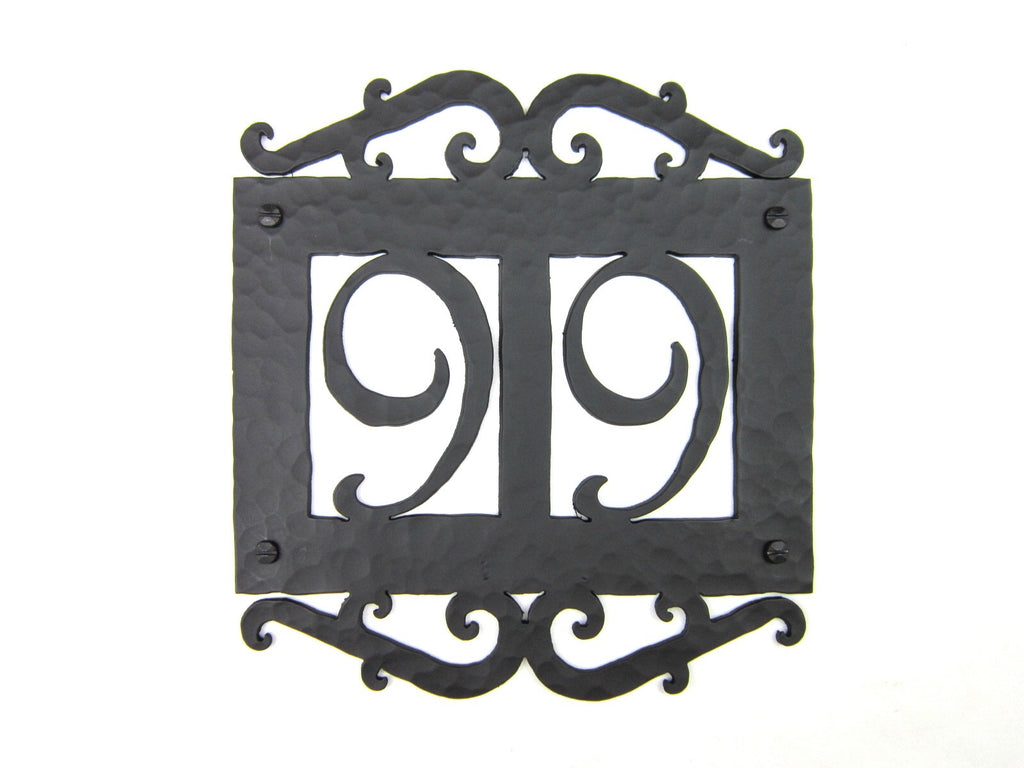 Rustic Spanish Style Custom Hammered Wrought Iron Address Plaque APH12