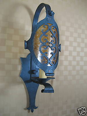 LS5 Spanish wrought iron scroll shield sconce