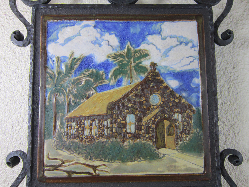 Spanish Style California Church Tile and Wrought Iron Wall Plaque