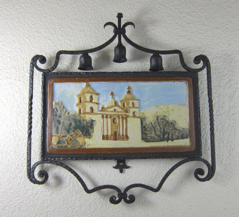 Spanish Style Pebble Mission Tile and Wrought Iron Plaque