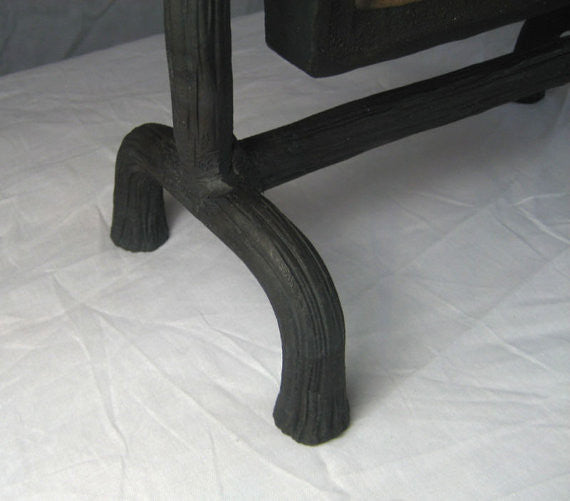 Arts and Crafts waterfall tile in forged wrought iron mantle swing - Bushere & Son Iron Studio Inc.
