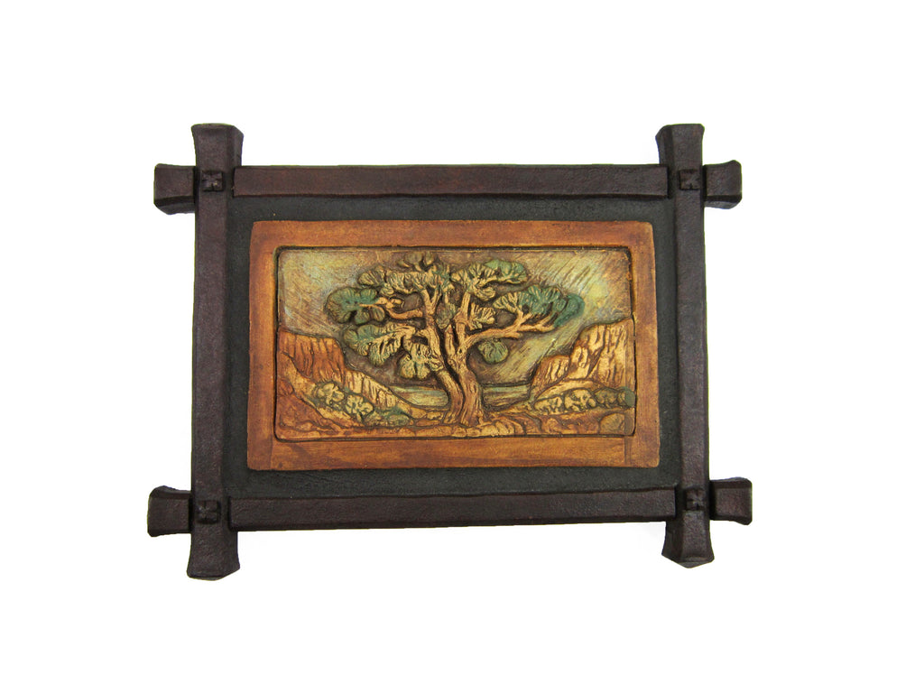 Rustic Torrey Pine Tree Tile Wrought Iron Wall Plaque
