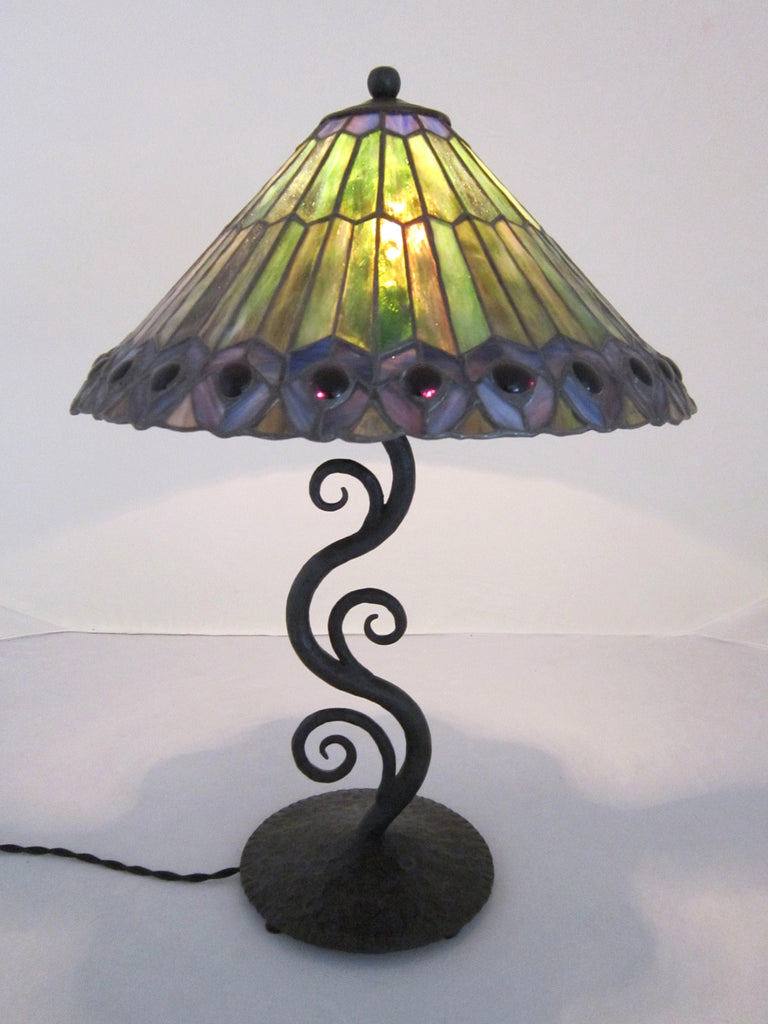 decorative green leaded glass waves of light wrought iron table lamp C24 - Bushere & Son Iron Studio Inc.