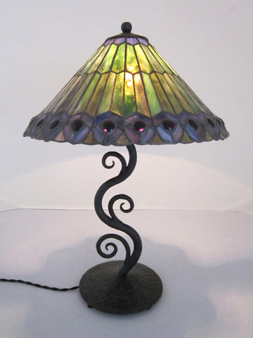 Decorative Green Leaded Glass Waves Of Light Wrought Iron Table Lamp C24. $  995.00. Spanish Style ...