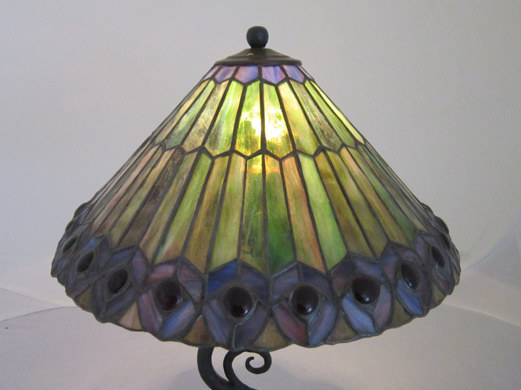 decorative green leaded glass waves of light wrought iron table lamp C24