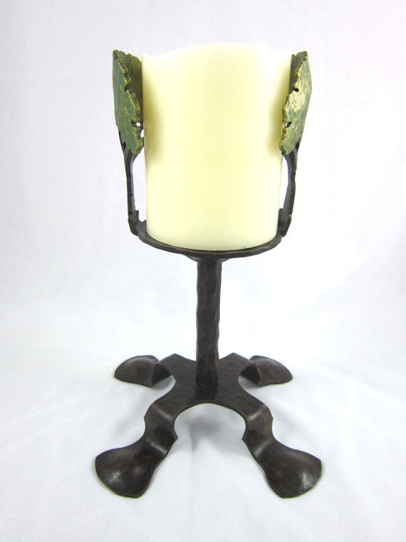 hand painted large green oak tree wrought iron candlestick holder