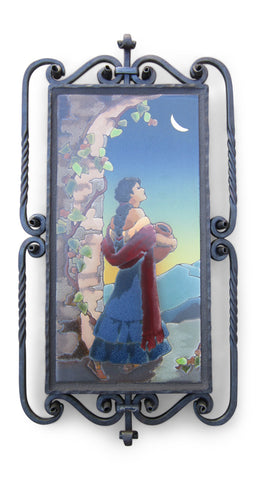 San Jose Style Tile Boy With Parrot Wrought Iron Wall Plaque