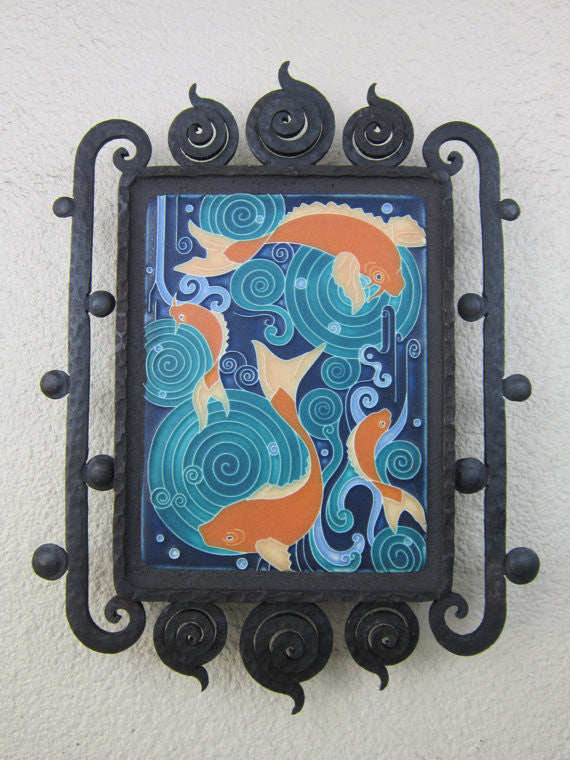 arts and crafts motawi koi pond fish tile plaque in wrought iron bubble frame - Bushere & Son Iron Studio Inc.