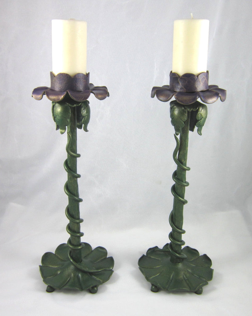 Organic Nouveau purple floral hand painted forged wrought iron candlestick C8