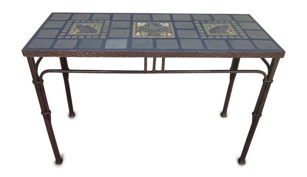 ... Arts U0026 Crafts Raven Tile And Wrought Iron Entry Table ...