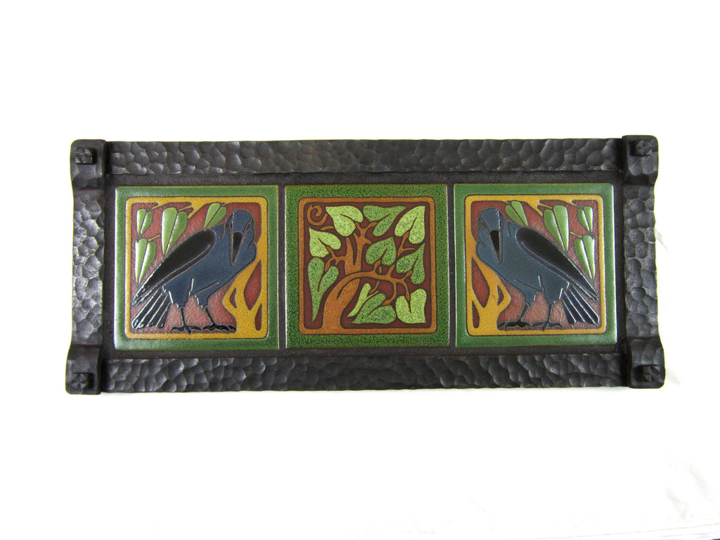 California Raven Tile and Hammered Wrought Iron Wall Tryptic Plaque