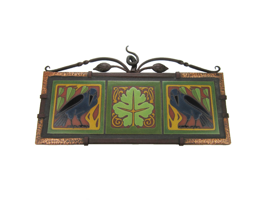 California Raven Tile Hammered Wrought Iron & Copper Wall Tryptic Plaque - Bushere & Son Iron Studio Inc.