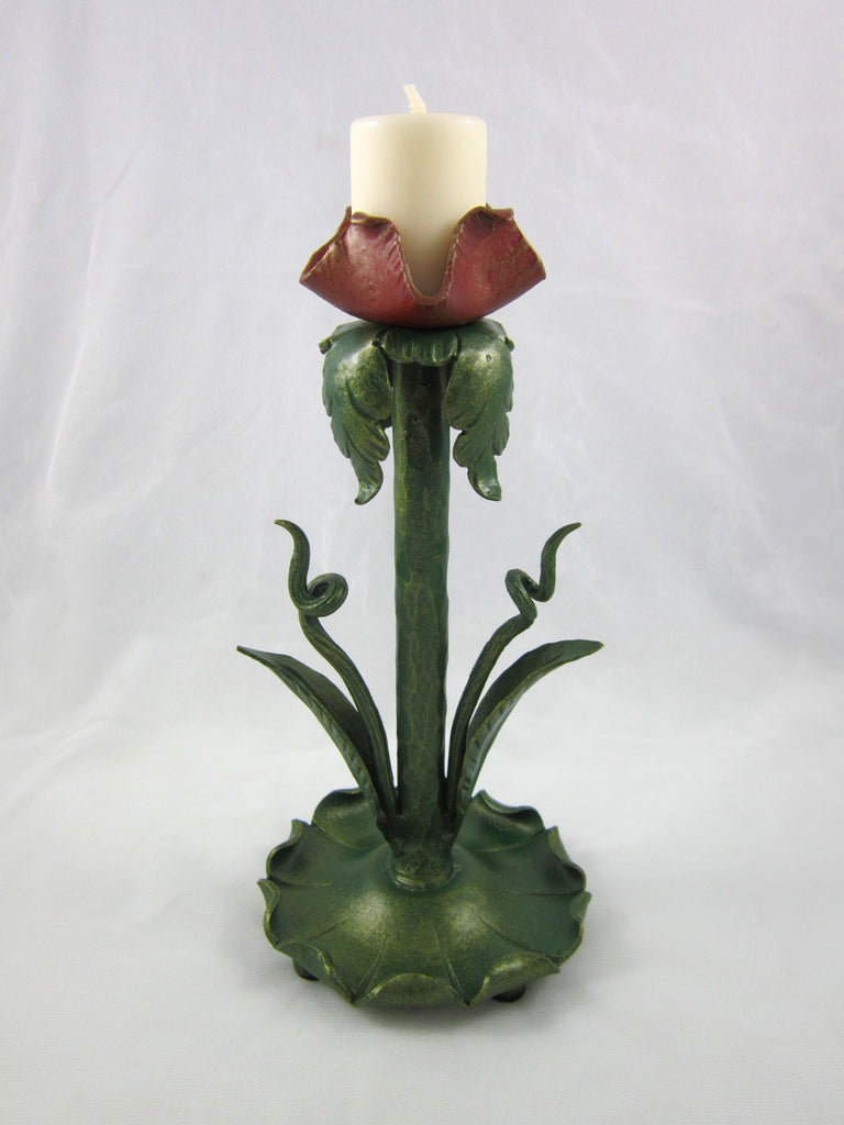 Organic Nouveau baby red flower hand painted forged wrought iron candlestick C20