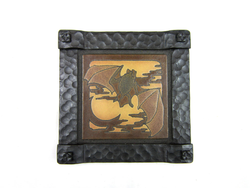 Bat Tile and Wrought Iron Wall Plaque - Bushere & Son Iron Studio Inc.