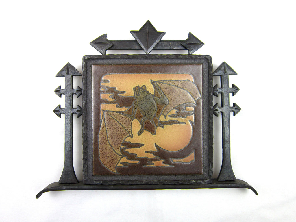 Decorative Bat Tile and Wrought Iron Wall Plaque