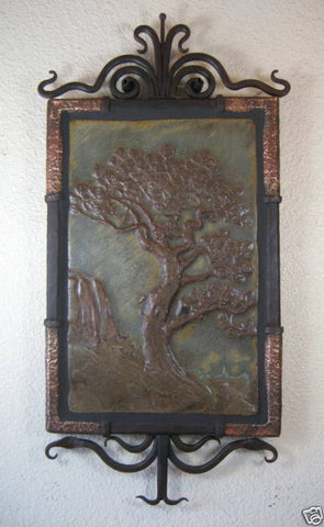 Spanish Style Church & Eucalyptus Tree Tile Wrought Iron Wall Plaque