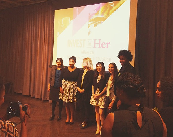 Standing alongside the other Invest in Her Pitch Competition finalists