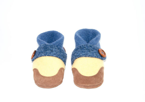 Kids Shoes, Toddler Slippers, from Recycled Wool & Non Slip Suede Leather, kids size 7.0 - 11.5