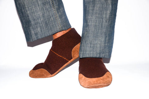 Men Cashmere Slippers with Suede Leather Soles, Eco-friendly Men Wool Shoes, Men Cashmere Socks. Size:USA Adults 6.5 -16
