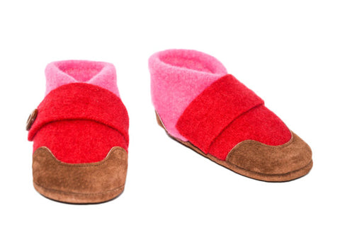 Felted Wool Slippers, Mary Jane Slippers, Children Soft Cashmere Shoes