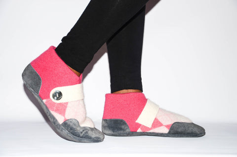 Women Cashmere Slipper Socks, Women Leather Shoes, Eco-friendly Women Mary Jane House Shoes.  Size: USA Adults 6.5 -16. Roses
