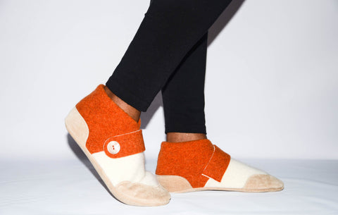 Women Slippers, Wool and Cashmere Felted House Slippers, Eco Friendly and Handmade in the USA.  Size:  USA Adults 6.5 -16