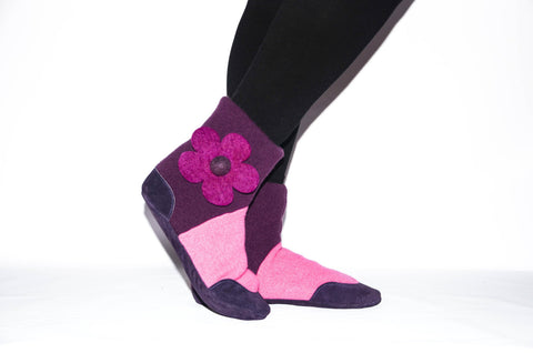 Women Slipper Socks, Women Cashmere Winter Boots from Reclaimed Cashmere and Suede Leather.  Adults 6.5 -16