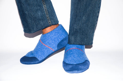 Unisex Wool House Slippers with Leather Soles, Unisex Cashmere Shoes from Recycled Materials.  Size:  Adults 6.5 -16