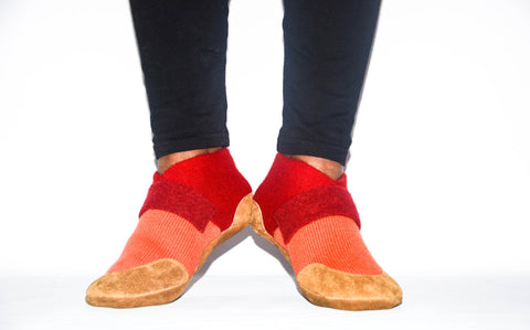 Unisex Cashmere Slippers from Recycled Materials, Men & Women Cashmere and Leather Shoes. Size:  USA Adults 6.5 -16