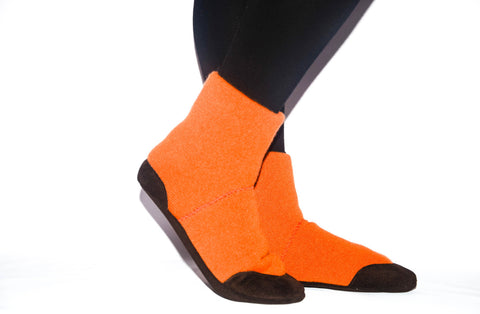 Unisex Slipper Socks, Men and Women Winter Boots from Reclaimed Cashmere and Suede Leather.  Adults 6.5 -16.  Pumpkin pie