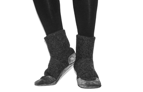 Men and Women  Slipper Socks, Men Cashmere Winter Boots from Reclaimed Cashmere and Suede Leather.  Men size 11 & 12