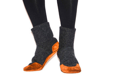 Men and Women Lambswool Boots, Unisex Slipper Socks, Men and Women Felted Wool Slippers, Unisex Cottage Socks.  Adults 6.5 -16