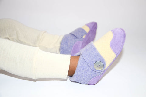 Kids Lambswool Shoes, Toddler Slippers, from Recycled Wool & Non Slip Suede Leather, kids size 7.0 - 11.5.  Let's Play!