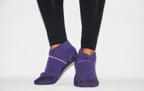 Women Cashmere Slipper Socks, Women Leather Shoes, Eco-friendly Women Felted House Shoes.  Size: USA Adults 6.5 -16. Purple Plums