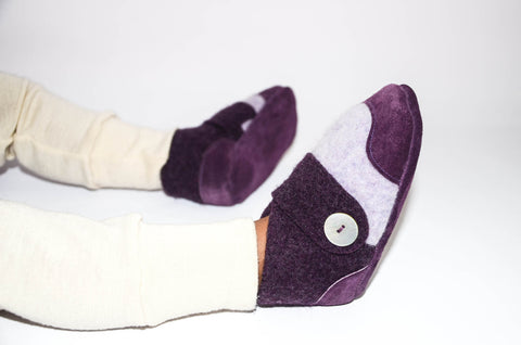 Kids Lambswool Shoes, Toddler Slippers, from Recycled Wool & Non Slip Suede Leather, kids size 7.0 - 11.5