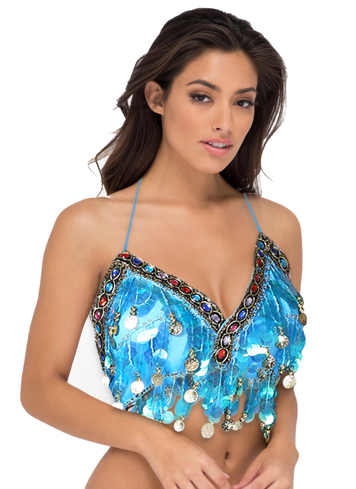 e415075206419b Halter Rave Sequin Blue Top Belly Dancer Coin Rave Top Rave Clothing EXY  EXYRAVE ...