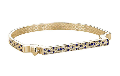 Bangle Bracelet in Yellow Gold Plating with Blue Cubic Zirconia Stones