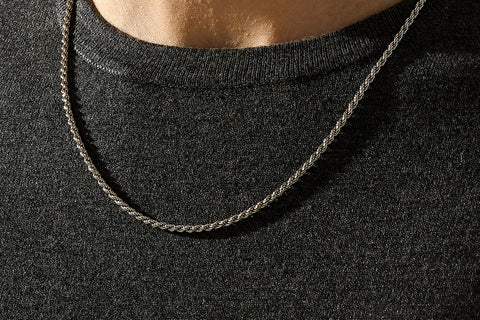Rope Necklace Chain in Silver