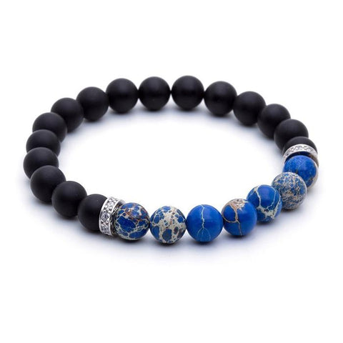 Blue Jasper and Agate Beaded Bracelet