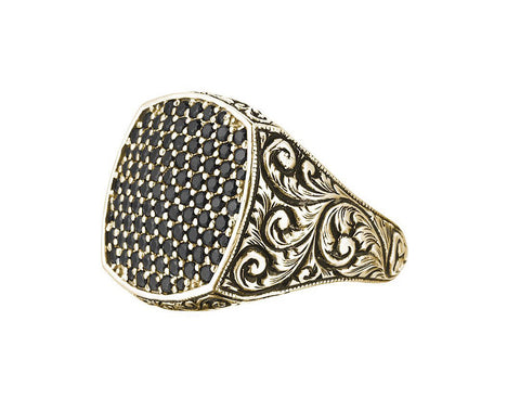 Men's Classic Cushion Pave Ring in Solid Gold