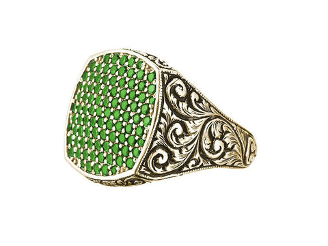 Men's Classic Cushion Pave Ring in Solid Gold - Emerald