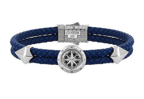 Compass Leather Bracelet in Solid Silver