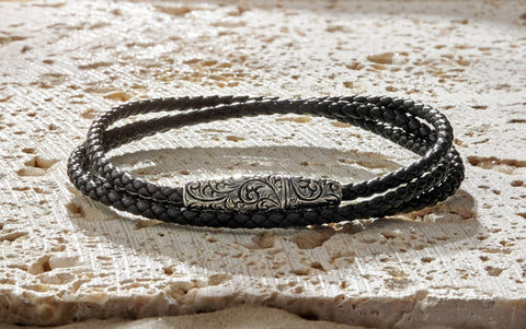 Classic Wrap Leather Bracelet with Silver Clasp