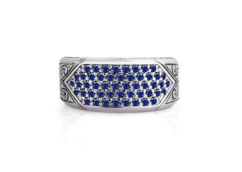 Men's Classic Pave Signet Ring in Sterling Silver