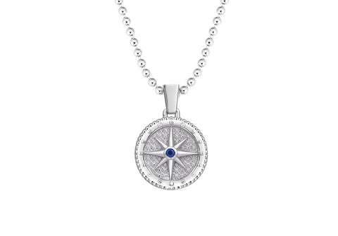 Compass Necklace Pendant in White Gold with a Blue Cubic Zirconia