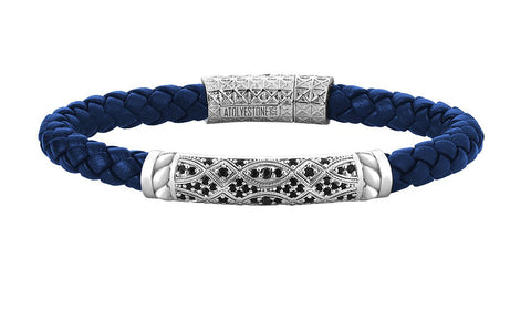 Braided Blue Leather Bracelet in Silver